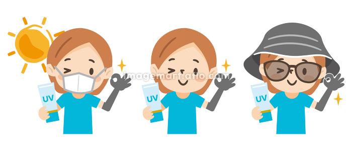 日焼け対策をした若い女性のイラストレーションのセットの販売画像