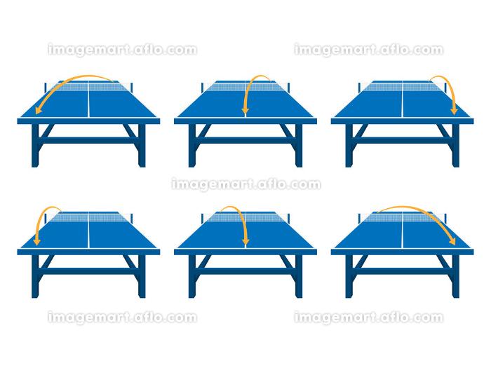 卓球台のコースを指示したイラストセットの販売画像