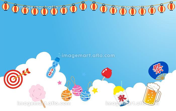 入道雲と夏祭のイラストアイコンの販売画像