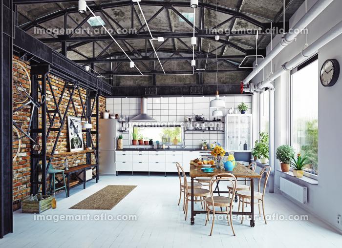 modern loft kitchen interior. 3d rendering conceptの販売画像