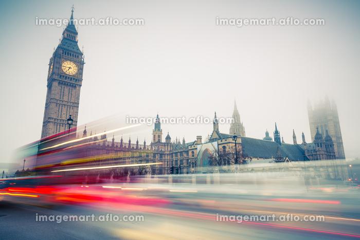 Big Ben and double-decker bus, Londonの販売画像