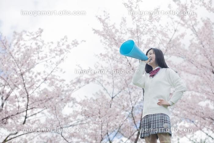 桜をバックにメガホンで応援をする高校生