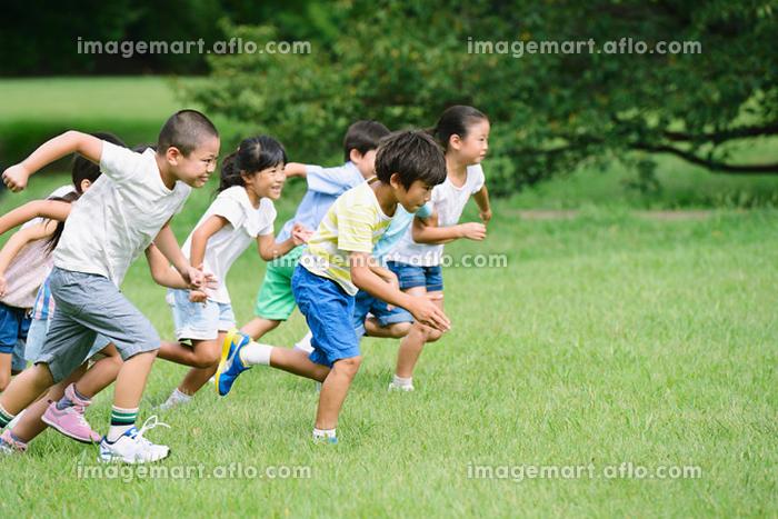 草原で走る小学生たちの販売画像