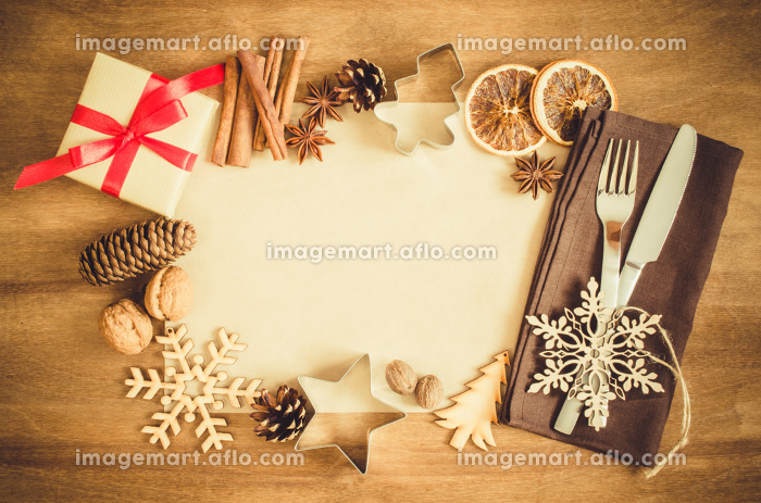 Culinary Background. Christmas Postcard with Empty Paper.の販売画像
