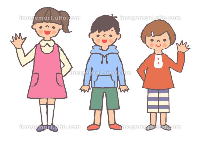 笑顔の子供3人の販売画像