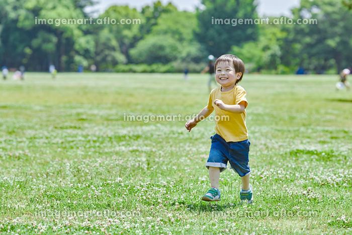 公園で遊ぶ日本人の男の子の販売画像