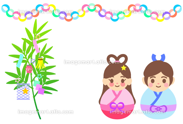笹飾りや織姫と彦星のイラスト【七夕祭り】の販売画像
