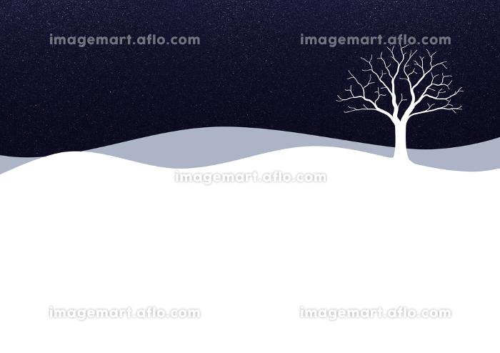 一本の木がある雪景色のイラスト 3の販売画像