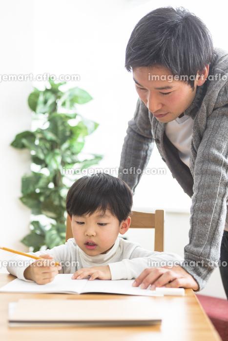 勉強する子供と勉強を見る親の販売画像