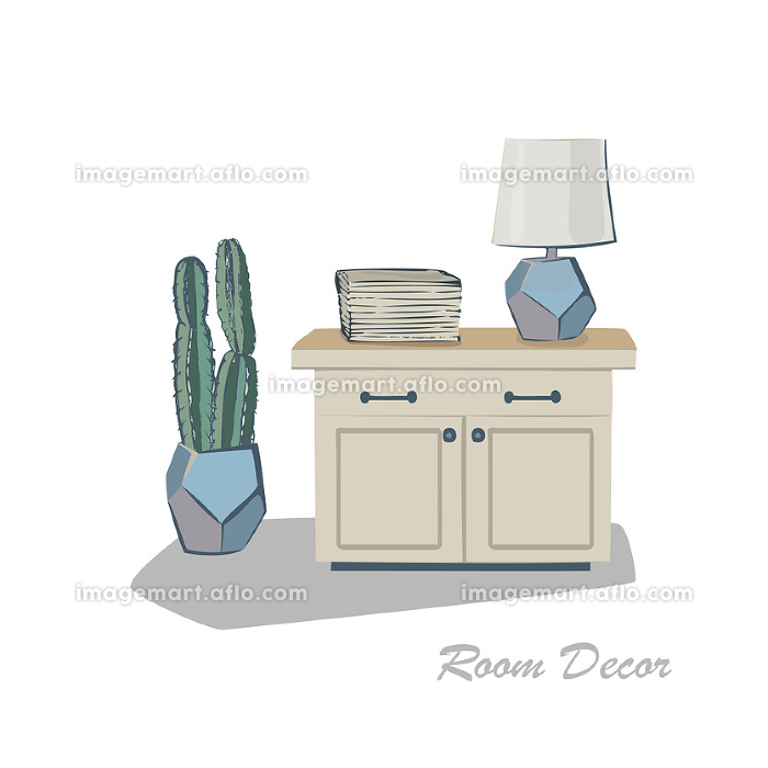 Interior design illustration sketch flat. Modern elements living room trendy style. Home house decoration. Table kitchen books magazines lamp plant cactus vase. Drawing vector hand drawn pastel colors