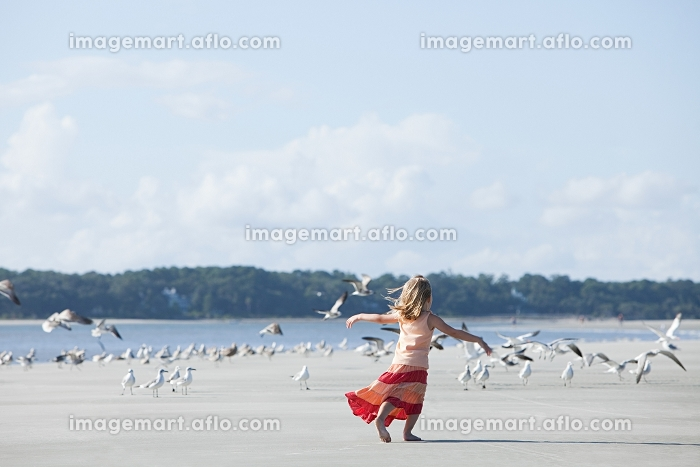 Girl running on beach amongst seagullsの販売画像