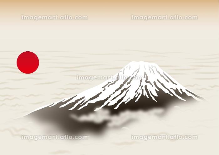 富士山と朝日 イラストの販売画像