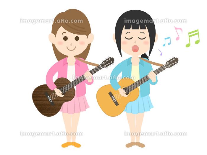 女性ミュージシャンバンドのコンサートのイラストの販売画像