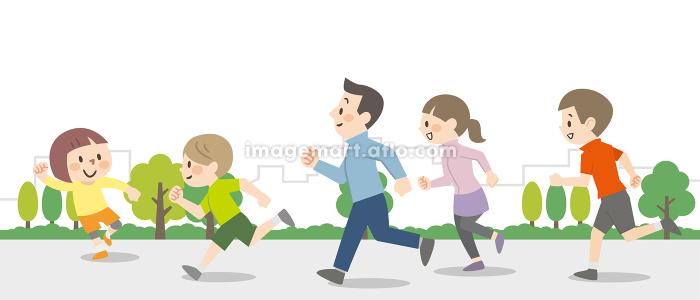 屋外を走る人々の販売画像
