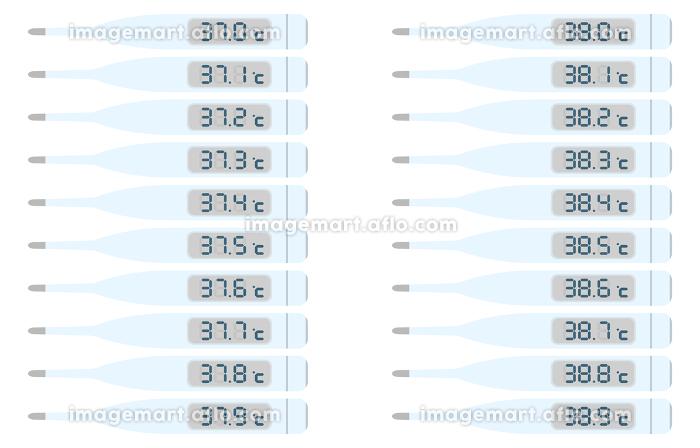 37度台と38度台を示す体温計のイラストセット