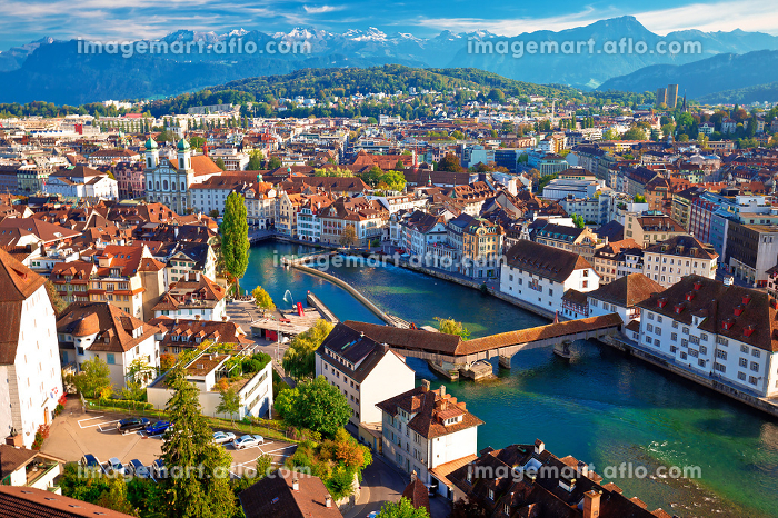 City of Luzern riverfront and rooftops aerial viewの販売画像