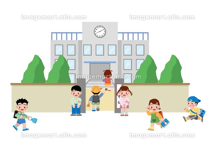 小学校登校風景の販売画像