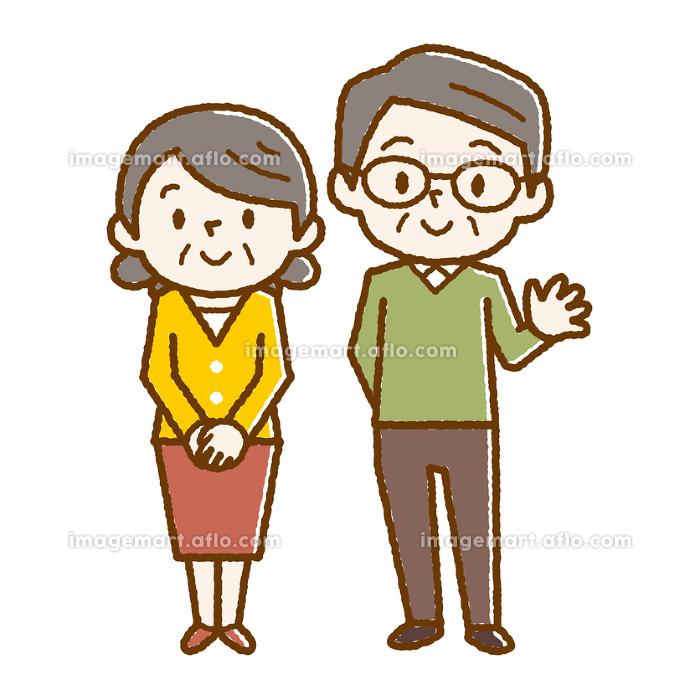 幸せシニア夫婦 手描き風の販売画像