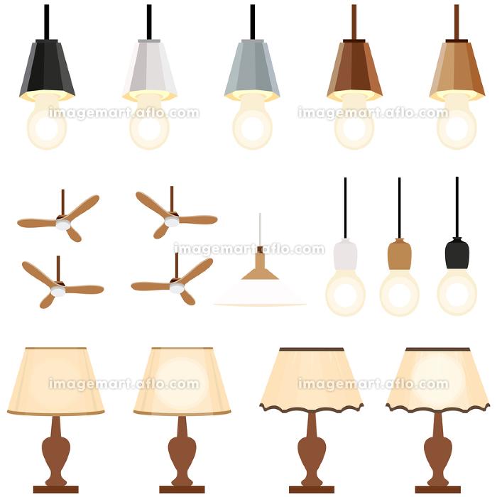 イラスト素材 ライト 照明器具 天井照明 吊下げ灯 ベクターの販売画像