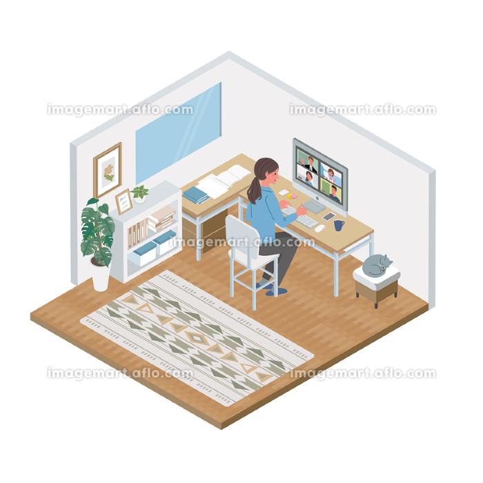 リモートワーク オンライン会議 アイソメトリック テレワーク 在宅勤務 イラストの販売画像