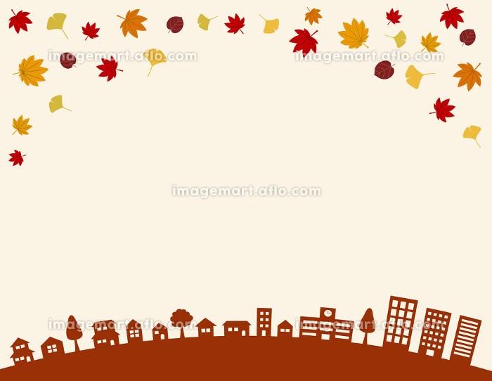 秋の街並みと紅葉|背景イラストの販売画像