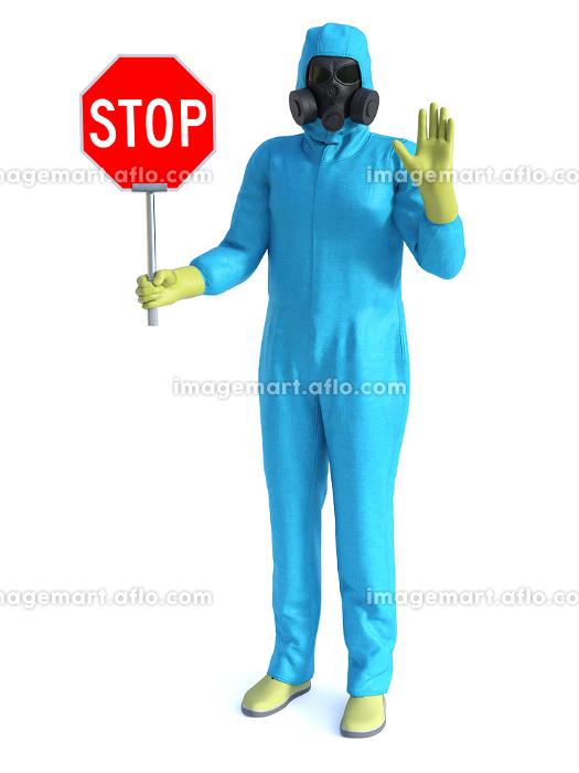 3D rendering of person in hazmat suit stopping you.の販売画像