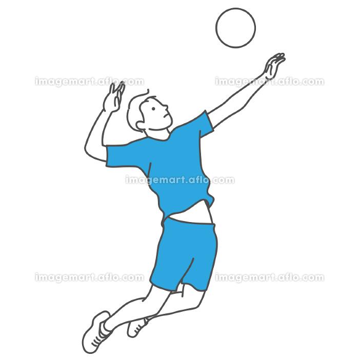 バレーボールをする男性の販売画像
