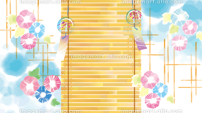 青空に朝顔の水彩風イラストの販売画像
