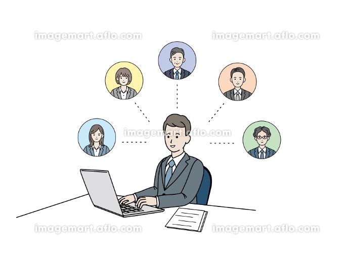 リモートワーク テレワークネットワーク 連携 パソコン作業 会社員 男性 イラスト素材の販売画像