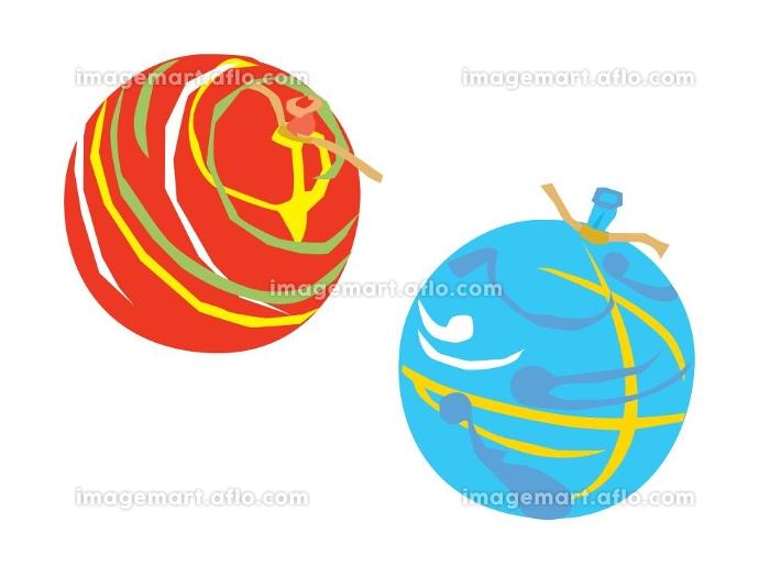 お祭りのヨーヨー釣りの赤と青のヨーヨーの販売画像