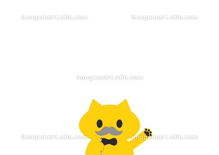 グレーの口ひげのプロップを持つかわいい猫:敬老の日・父の日、おじいさん・お父さんイメージ素材・白背景の販売画像