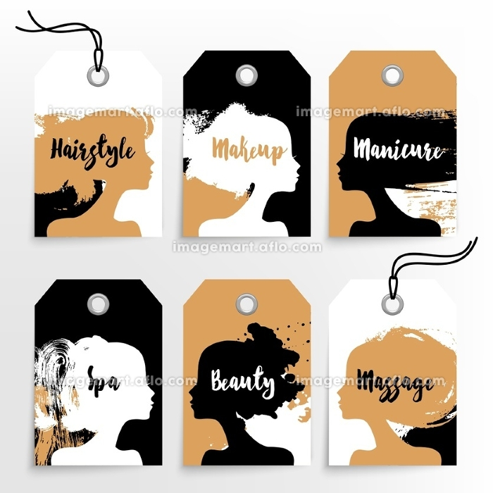 Set of banners with acrylic beautiful girl silhouettes. Vector illustration of painting woman beauty salon design. Tags makeup, hairstyle, manicure, spa, beauty, massage