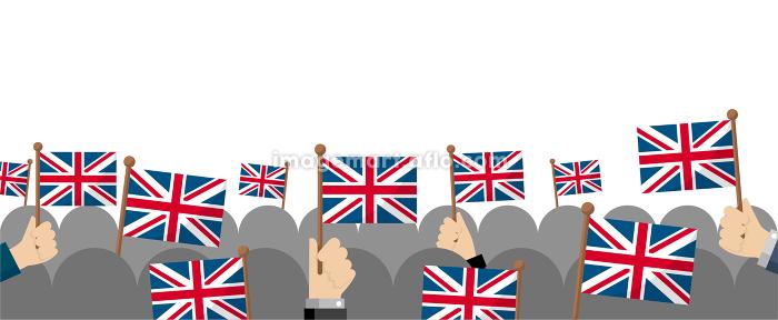 手持ち国旗 集団・群衆イラスト ( 愛国心・イベント・お祝い ・デモ) / イギリス・英国の販売画像
