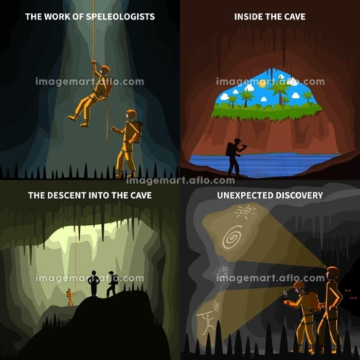 Speleologists 4 Flat Icons Square Banner. Speleologists descent into the cave underground discovery 4 flat icons square composition banner abstract isolated vector illustrationの販売画像