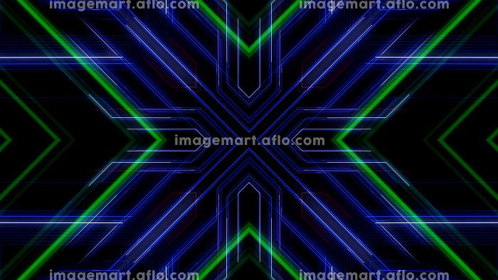 回路 万華鏡 カレイドスコープ 線 ライン スペース 空間 3D イラスト 背景 バックの販売画像