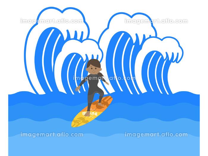 サーフィンをする女性のイラストの販売画像