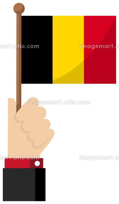 手持ち国旗イラスト ( 愛国心・イベント・お祝い・デモ ) / ベルギーの販売画像