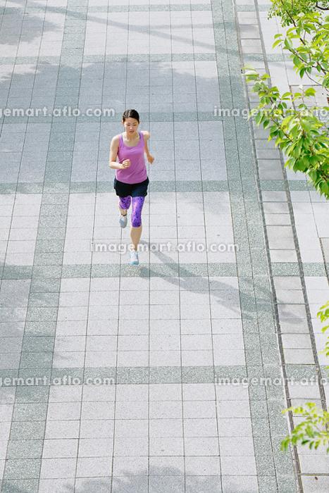 ジョギングする女子 走る