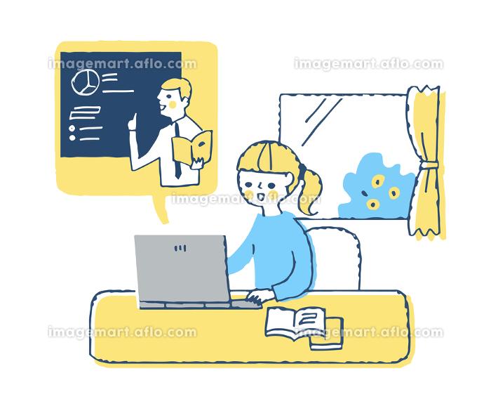 オンライン学習をする女の子の販売画像