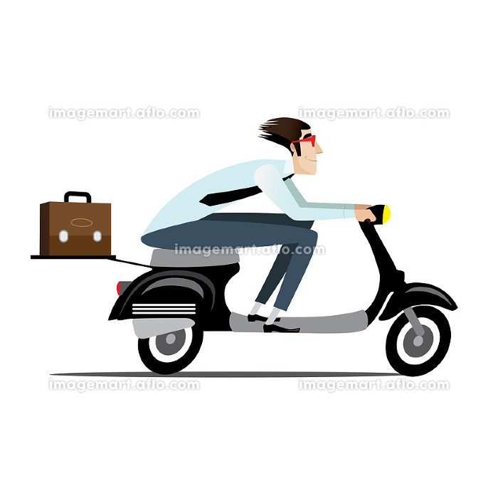 Businessman riding on a scooterの販売画像