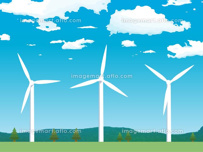 風車 青空 風景 イラスト素材の販売画像