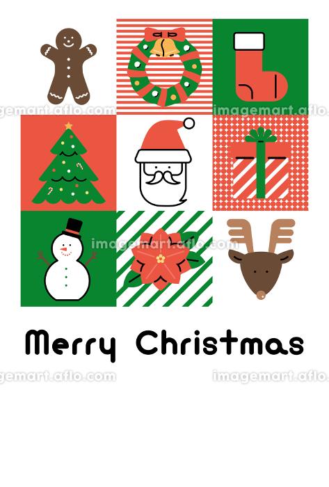 クリスマスカード テンプレート(フラットアイコン デザイン)の販売画像