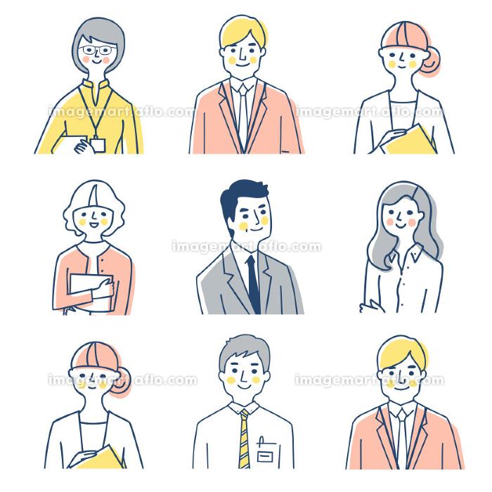ビジネスパーソン男女9人 バストアップ セットの販売画像