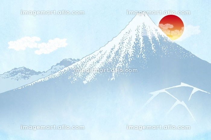 富士山と朝日 イラスト