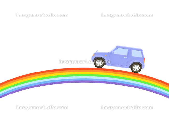 虹と青いジープの販売画像