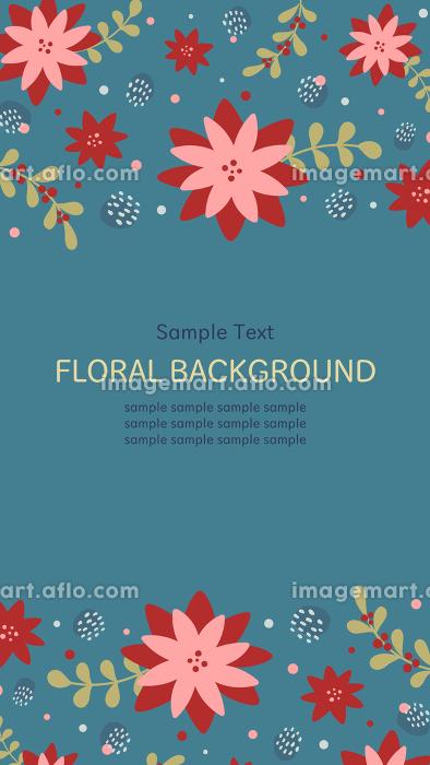 冬の花柄の縦長バナー背景素材の販売画像