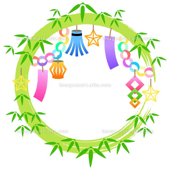 七夕祭りの装飾枠のイラストの販売画像
