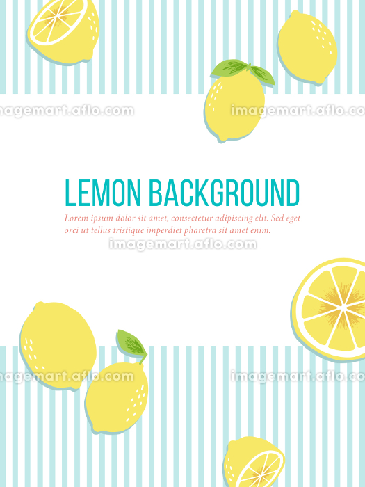 手書きのレモン、爽やかなブルーのストライプの背景素材の販売画像