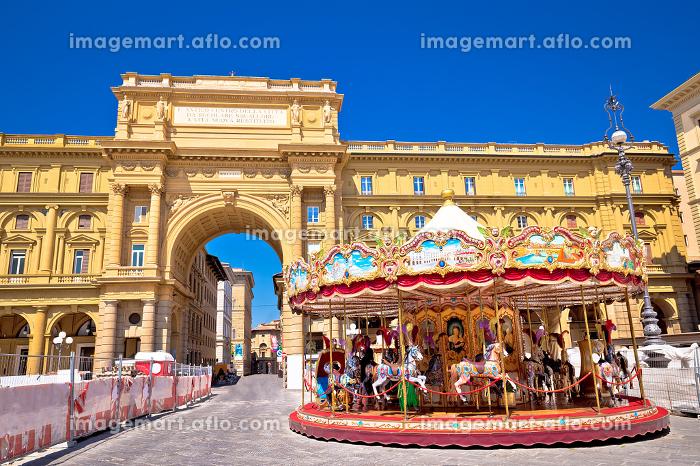 Piazza della Repubblica and Antica Giostra Toscana in Florence view