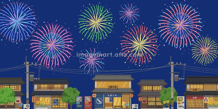 日本の夏の街並みと打ち上げ花火の風景ベクターイラスト横(背景)の販売画像